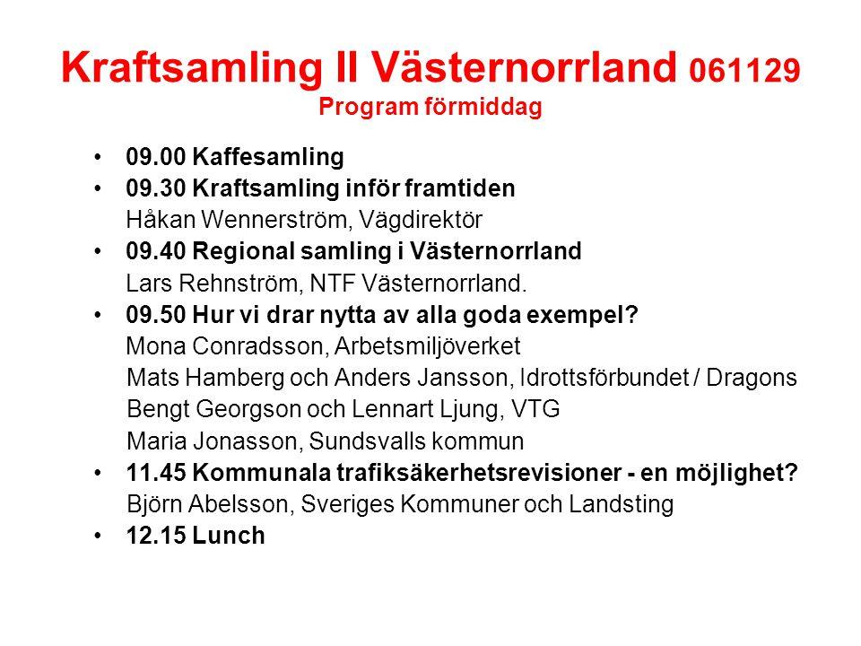 Kraftsamling II Västernorrland 061129 Program förmiddag 09.00 Kaffesamling 09.30 Kraftsamling inför framtiden Håkan Wennerström, Vägdirektör 09.40 Regional samling i Västernorrland Lars Rehnström, NTF Västernorrland.