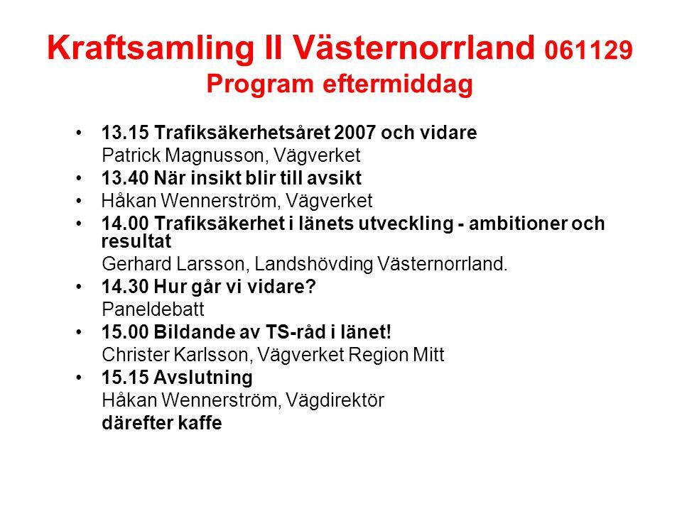 Kraftsamling II Västernorrland 061129 Program eftermiddag 13.15 Trafiksäkerhetsåret 2007 och vidare Patrick Magnusson, Vägverket 13.40 När insikt blir till avsikt Håkan Wennerström, Vägverket 14.00 Trafiksäkerhet i länets utveckling - ambitioner och resultat Gerhard Larsson, Landshövding Västernorrland.