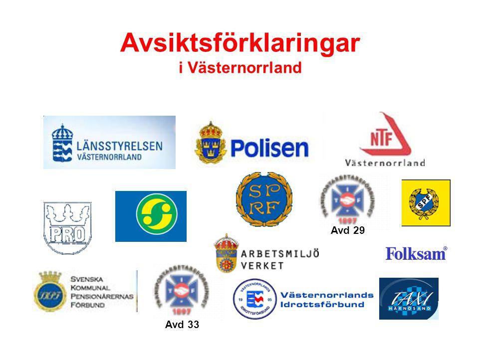 Avsiktsförklaringar i Västernorrland Avd 33 Avd 29