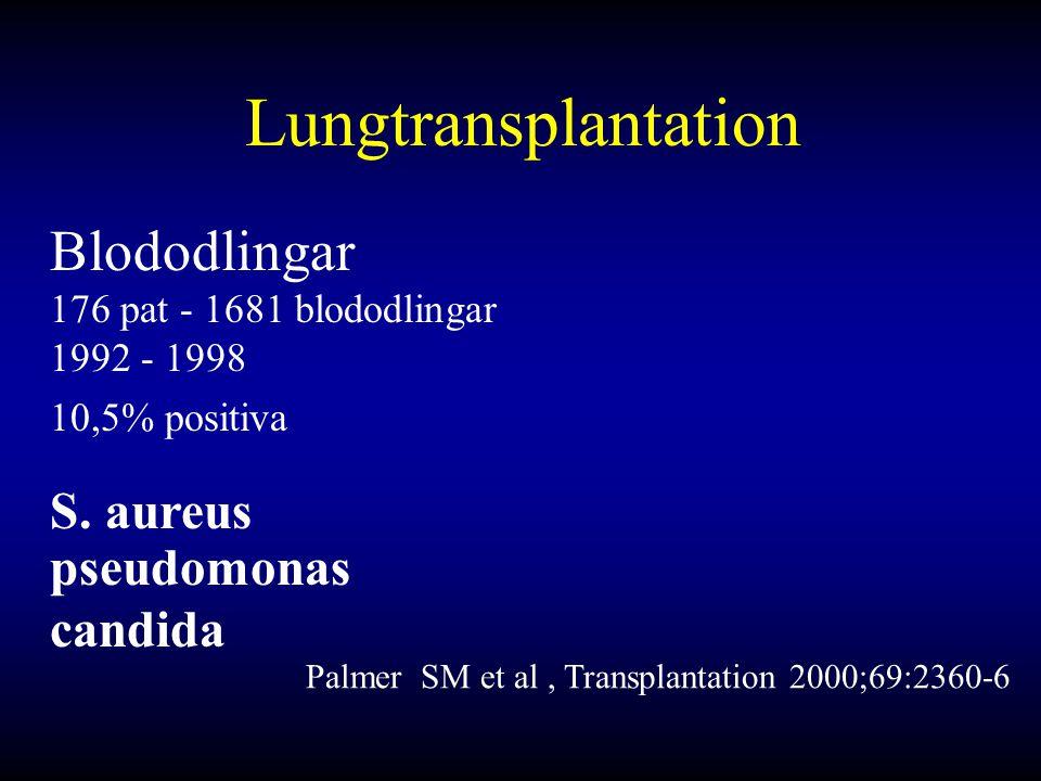 Lungtransplantation Blododlingar 176 pat - 1681 blododlingar 1992 - 1998 10,5% positiva S.