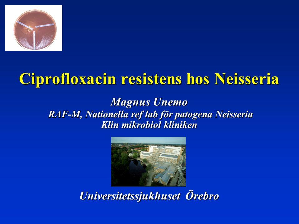 Ciprofloxacin resistens hos Neisseria Magnus Unemo RAF-M, Nationella ref lab för patogena Neisseria Klin mikrobiol kliniken Universitetssjukhuset Öreb