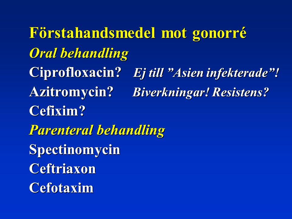 """Förstahandsmedel mot gonorré Oral behandling Ciprofloxacin? Ej till """"Asien infekterade""""! Azitromycin? Biverkningar! Resistens? Cefixim? Parenteral beh"""