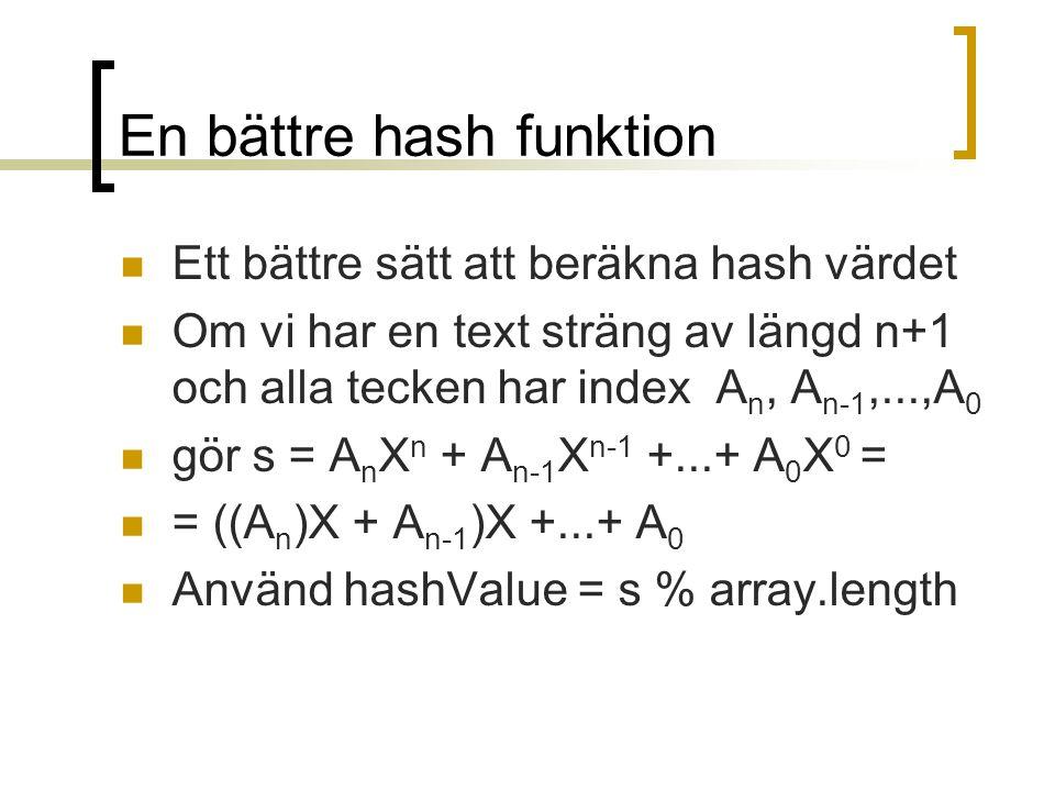 En bättre hash funktion Ett bättre sätt att beräkna hash värdet Om vi har en text sträng av längd n+1 och alla tecken har index A n, A n-1,...,A 0 gör s = A n X n + A n-1 X n-1 +...+ A 0 X 0 = = ((A n )X + A n-1 )X +...+ A 0 Använd hashValue = s % array.length