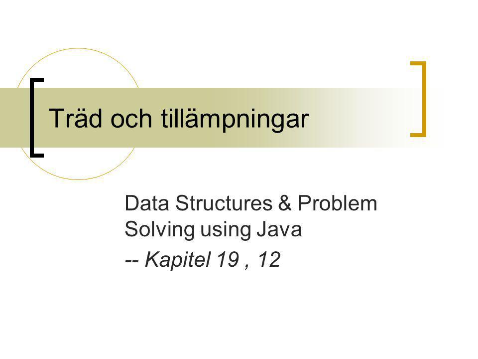 Träd och tillämpningar Data Structures & Problem Solving using Java -- Kapitel 19, 12
