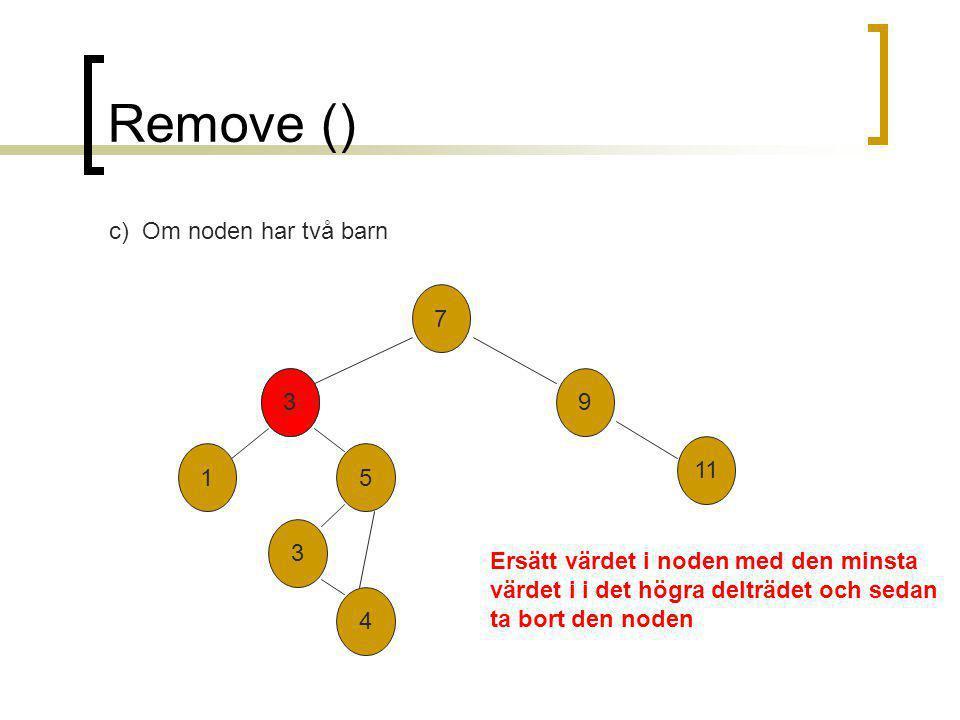 Remove () 7 2 3 9 11 51 4 c) Om noden har två barn 3 Ersätt värdet i noden med den minsta värdet i i det högra delträdet och sedan ta bort den noden