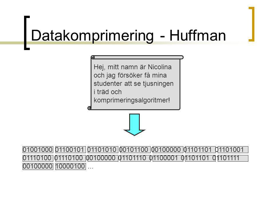 Datakomprimering - Huffman Hej, mitt namn är Nicolina och jag försöker få mina studenter att se tjusningen i träd och komprimeringsalgoritmer.