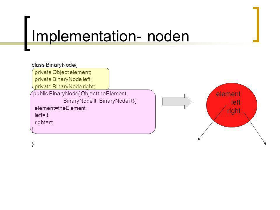 BinaryTree klassen class BinaryTree{ } private BinaryNod root; public BinaryTree( Object item){ root=new BinaryNode(item,null,null); } public BinaryTree(){ root=null; }