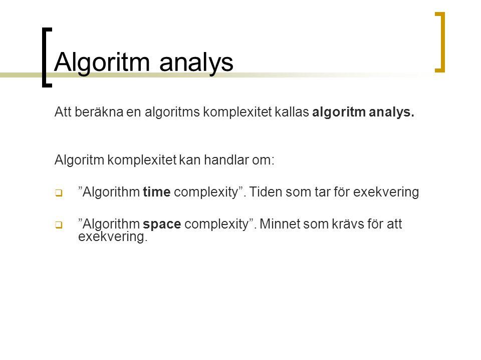 Experimental analys algoritm long tid2=System.curentTimeMillis() long tid1=System.curentTimeMillis() long tid=tid2-tid1 - genom att exekvera programmmet med olika input och räkna tiden