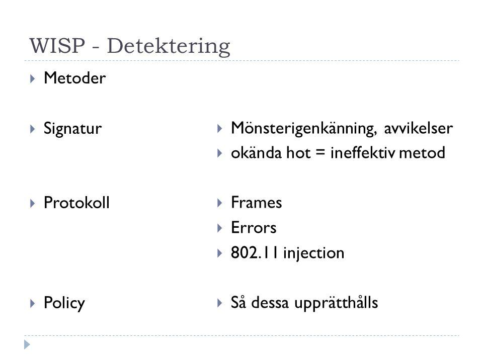 WISP - Detektering  Metoder  Signatur  Protokoll  Policy  Mönsterigenkänning, avvikelser  okända hot = ineffektiv metod  Frames  Errors  802.11 injection  Så dessa upprätthålls