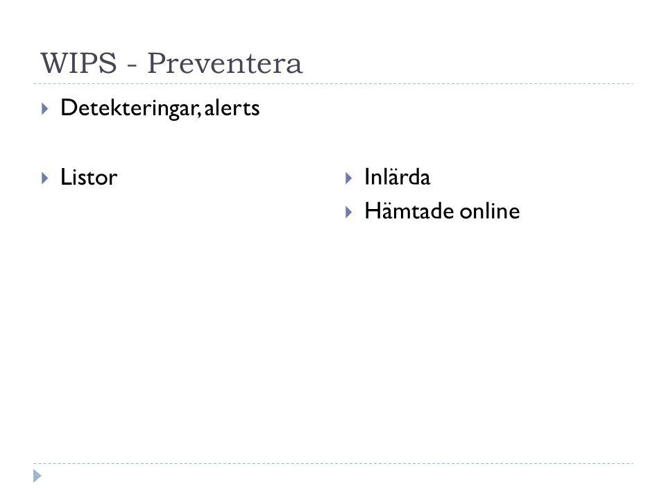 WIPS - Preventera  Detekteringar, alerts  Listor  Inlärda  Hämtade online