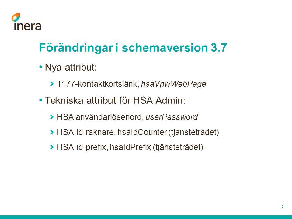 2 Förändringar i schemaversion 3.7 Nya attribut: 1177-kontaktkortslänk, hsaVpwWebPage Tekniska attribut för HSA Admin: HSA användarlösenord, userPassw
