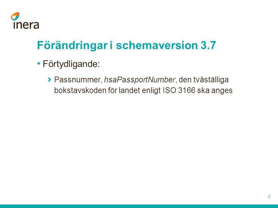 5 Förändringar i schemaversion 3.7 Förtydligande: Passnummer, hsaPassportNumber, den tvåställiga bokstavskoden för landet enligt ISO 3166 ska anges