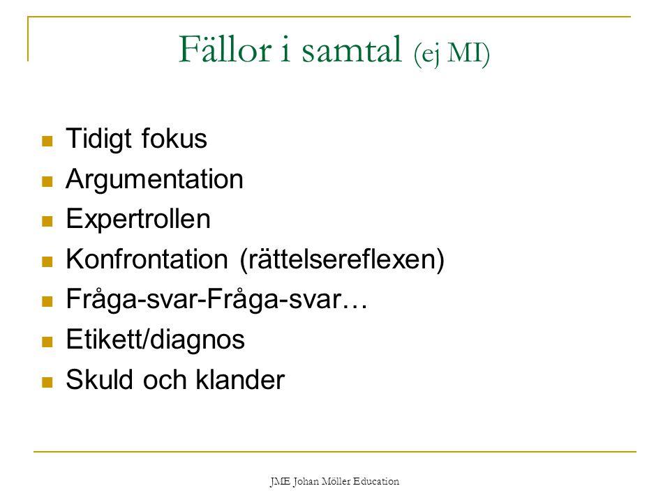 JME Johan Möller Education Fällor i samtal (ej MI) Tidigt fokus Argumentation Expertrollen Konfrontation (rättelsereflexen) Fråga-svar-Fråga-svar… Etikett/diagnos Skuld och klander
