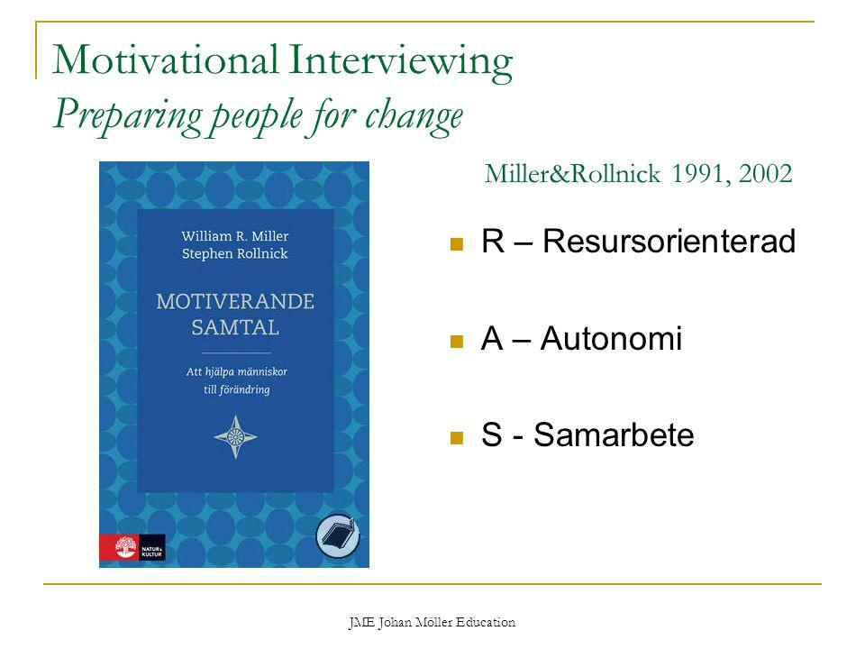 JME Johan Möller Education Motivational Interviewing Preparing people for change Miller&Rollnick 1991, 2002 R – Resursorienterad A – Autonomi S - Samarbete