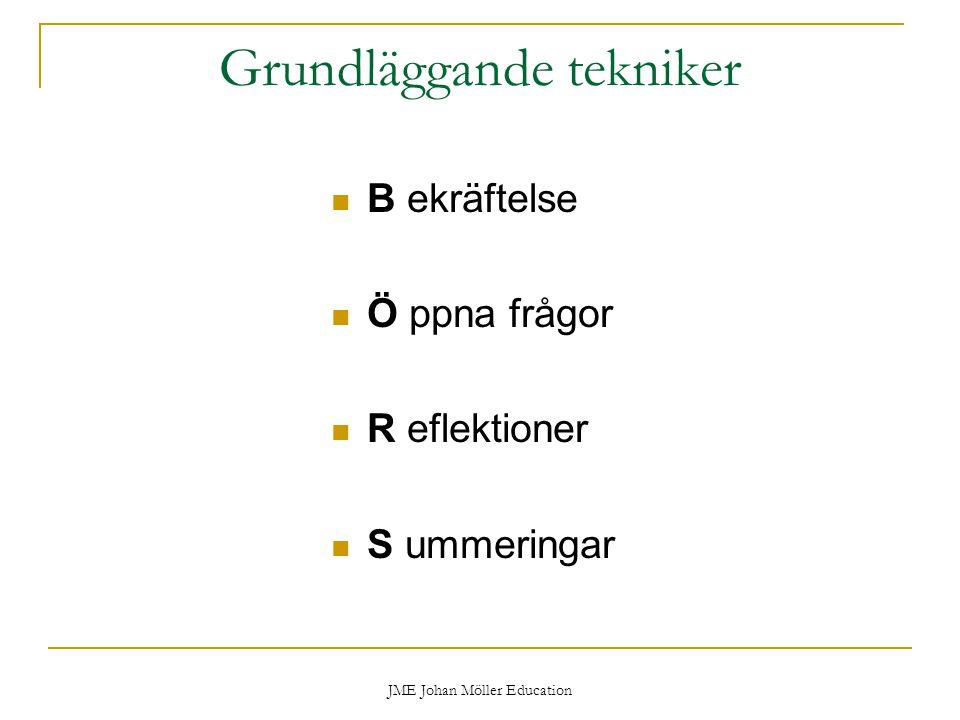 JME Johan Möller Education Grundläggande tekniker B ekräftelse Ö ppna frågor R eflektioner S ummeringar