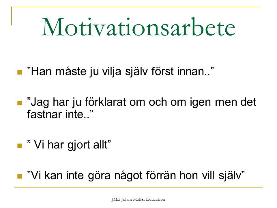 JME Johan Möller Education Motivationsarbete Han måste ju vilja själv först innan.. Jag har ju förklarat om och om igen men det fastnar inte.. Vi har gjort allt Vi kan inte göra något förrän hon vill själv