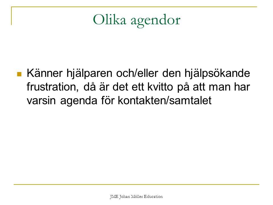 JME Johan Möller Education Olika agendor Känner hjälparen och/eller den hjälpsökande frustration, då är det ett kvitto på att man har varsin agenda för kontakten/samtalet