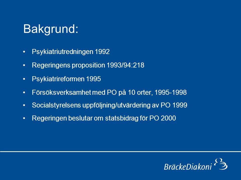Bakgrund: Psykiatriutredningen 1992 Regeringens proposition 1993/94:218 Psykiatrireformen 1995 Försöksverksamhet med PO på 10 orter, 1995-1998 Socials