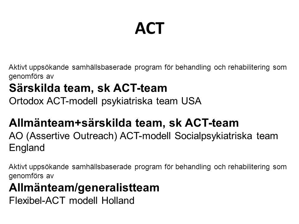 ACT Aktivt uppsökande samhällsbaserade program för behandling och rehabilitering som genomförs av Särskilda team, sk ACT-team Ortodox ACT-modell psyki