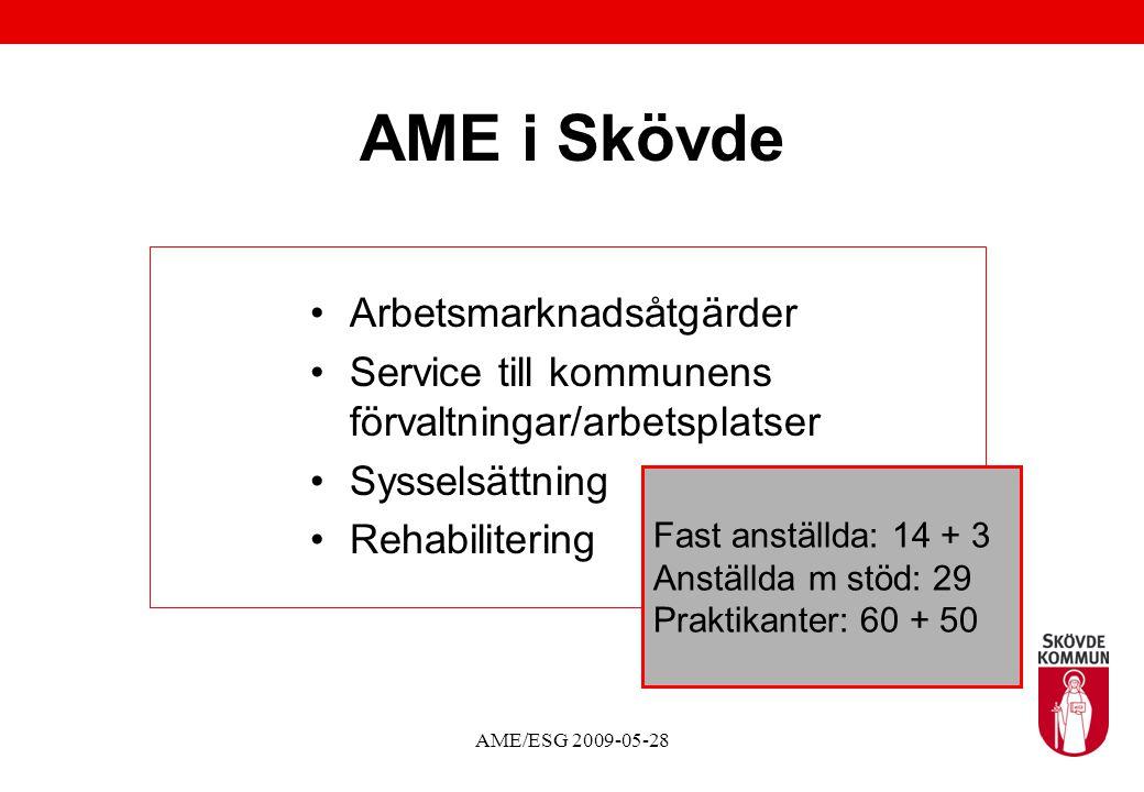 AME/ESG 2009-05-28 AME i Skövde Arbetsmarknadsåtgärder Service till kommunens förvaltningar/arbetsplatser Sysselsättning Rehabilitering Fast anställda: 14 + 3 Anställda m stöd: 29 Praktikanter: 60 + 50