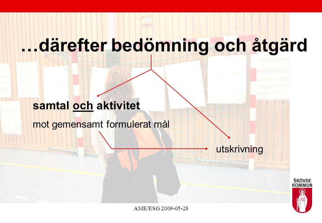 AME/ESG 2009-05-28 …därefter bedömning och åtgärd samtal och aktivitet mot gemensamt formulerat mål utskrivning
