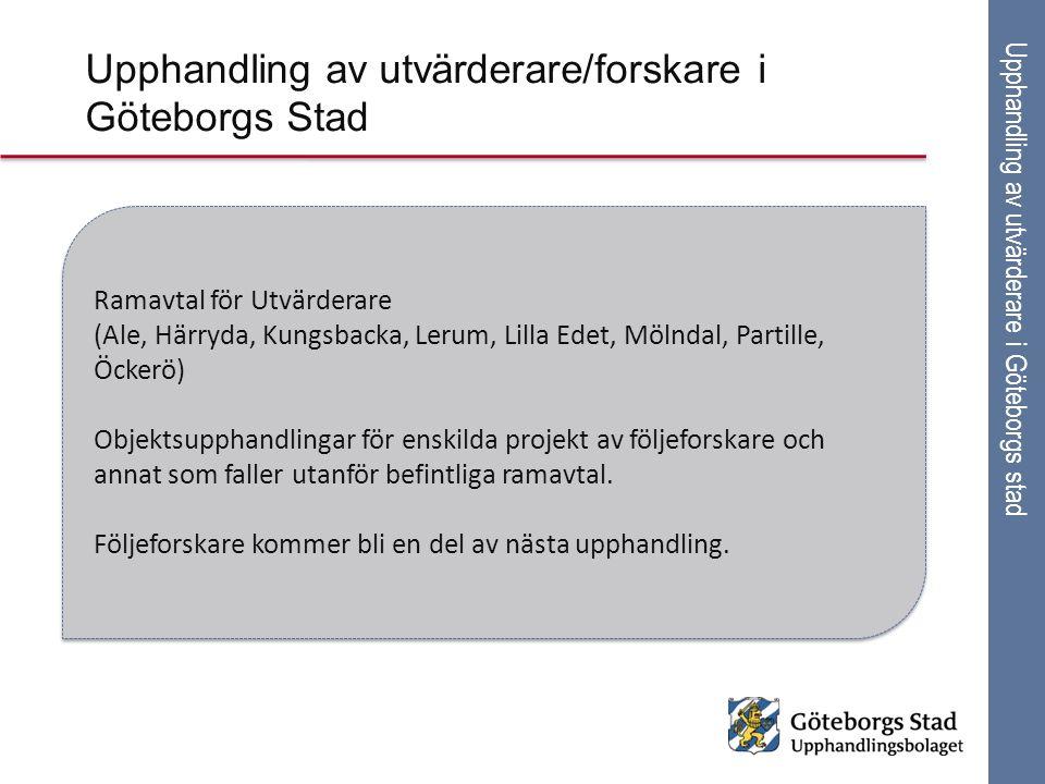 Upphandling av utvärderare i Göteborgs stad Ramavtal för Utvärderare (Ale, Härryda, Kungsbacka, Lerum, Lilla Edet, Mölndal, Partille, Öckerö) Objektsu