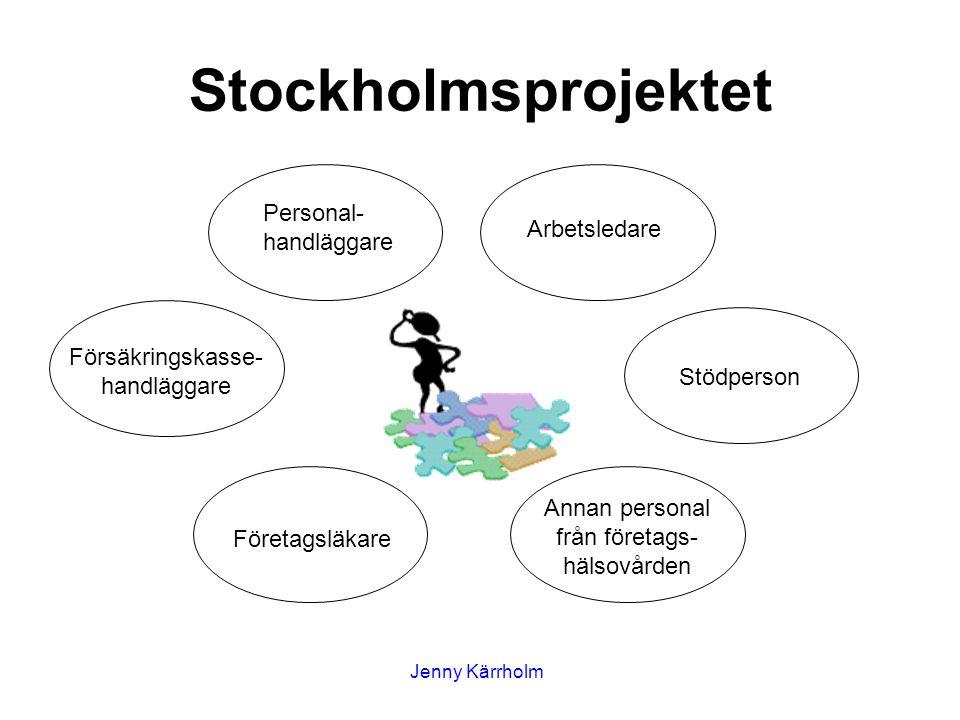 Annan personal från företags- hälsovården Stödperson Arbetsledare Personal- handläggare Försäkringskasse- handläggare Företagsläkare Stockholmsprojektet Jenny Kärrholm