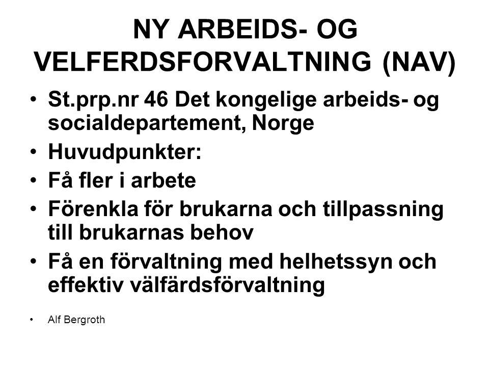 NY ARBEIDS- OG VELFERDSFORVALTNING (NAV) St.prp.nr 46 Det kongelige arbeids- og socialdepartement, Norge Huvudpunkter: Få fler i arbete Förenkla för brukarna och tillpassning till brukarnas behov Få en förvaltning med helhetssyn och effektiv välfärdsförvaltning Alf Bergroth