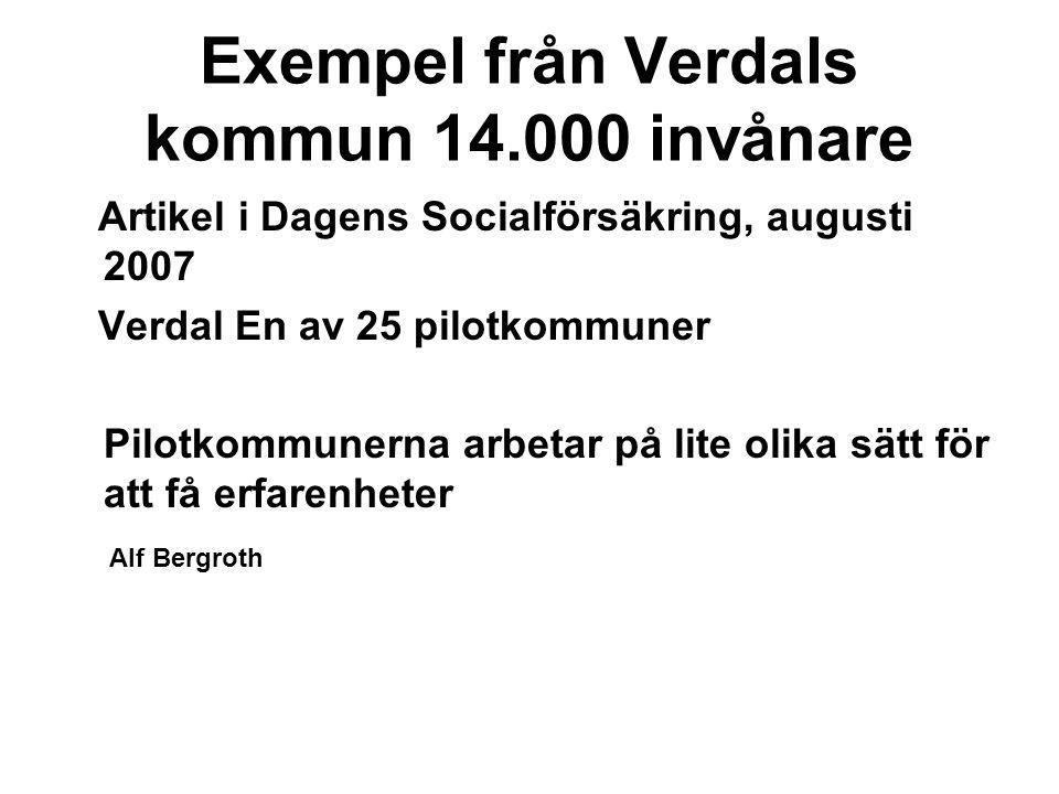 Exempel från Verdals kommun 14.000 invånare Artikel i Dagens Socialförsäkring, augusti 2007 Verdal En av 25 pilotkommuner Pilotkommunerna arbetar på lite olika sätt för att få erfarenheter Alf Bergroth