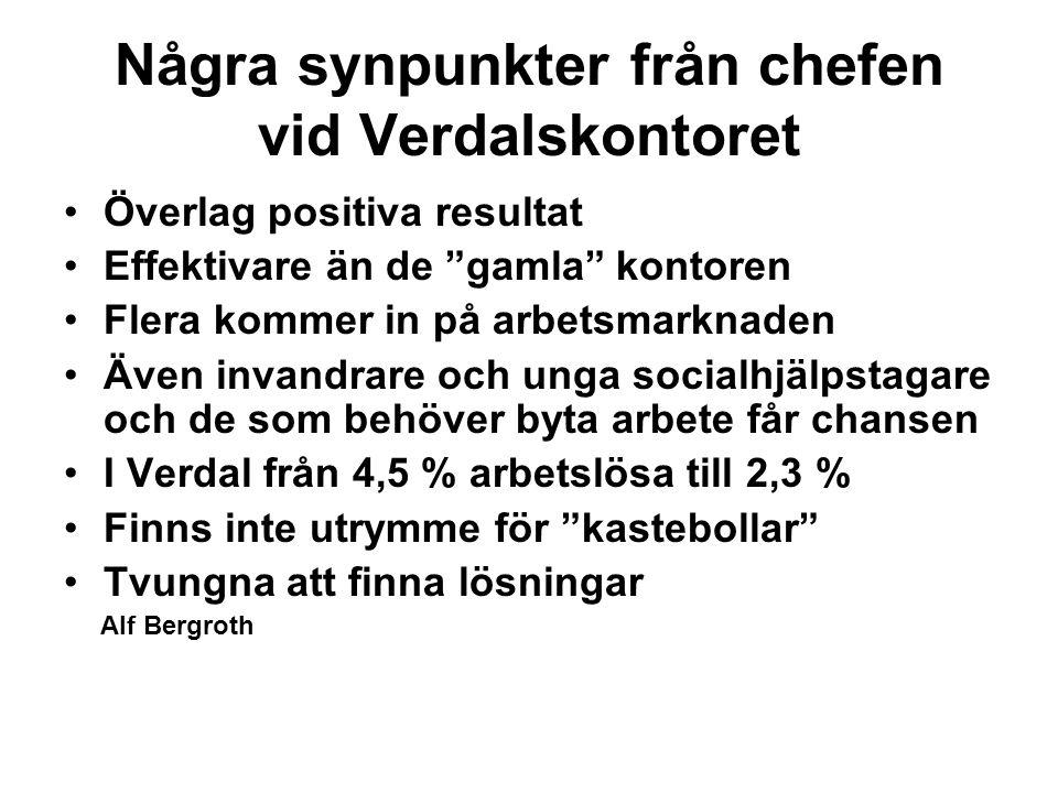 Några synpunkter från chefen vid Verdalskontoret Överlag positiva resultat Effektivare än de gamla kontoren Flera kommer in på arbetsmarknaden Även invandrare och unga socialhjälpstagare och de som behöver byta arbete får chansen I Verdal från 4,5 % arbetslösa till 2,3 % Finns inte utrymme för kastebollar Tvungna att finna lösningar Alf Bergroth