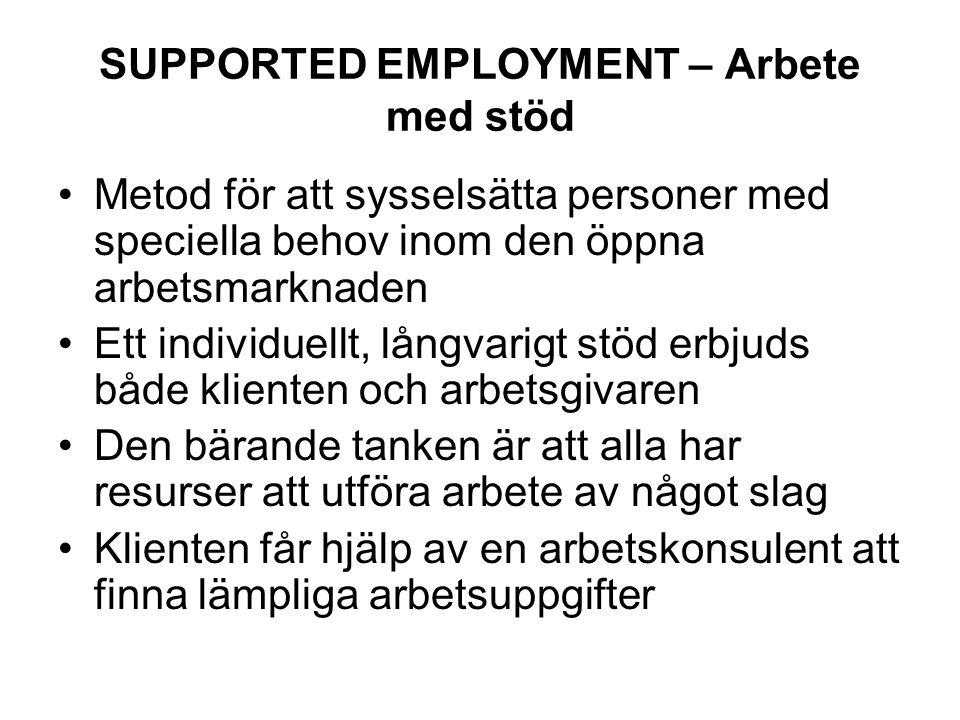 SUPPORTED EMPLOYMENT – Arbete med stöd Metod för att sysselsätta personer med speciella behov inom den öppna arbetsmarknaden Ett individuellt, långvar