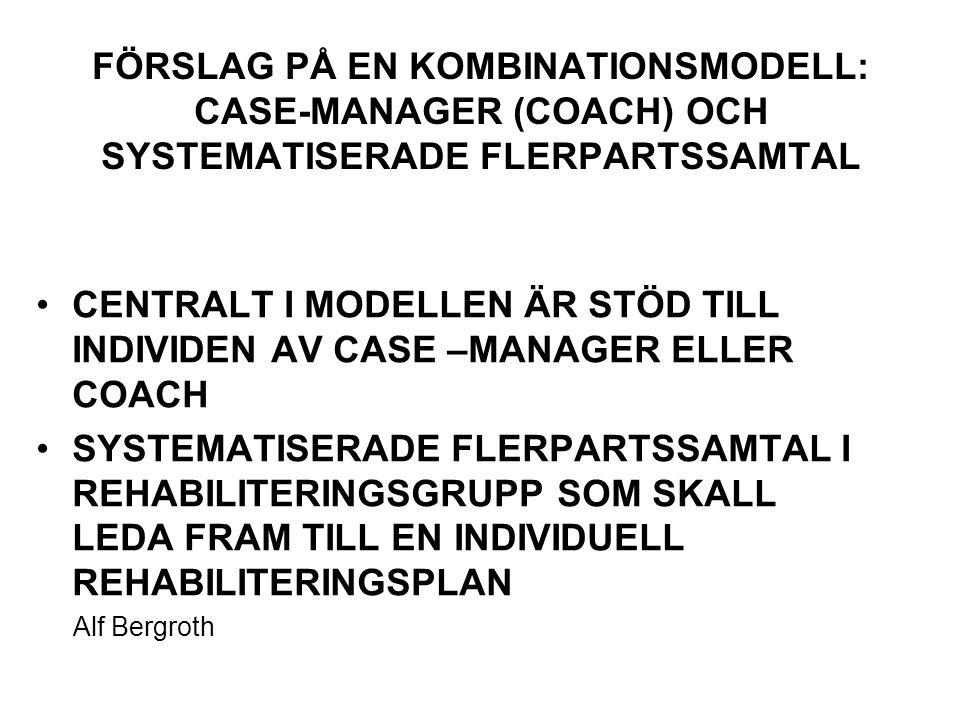FÖRSLAG PÅ EN KOMBINATIONSMODELL: CASE-MANAGER (COACH) OCH SYSTEMATISERADE FLERPARTSSAMTAL CENTRALT I MODELLEN ÄR STÖD TILL INDIVIDEN AV CASE –MANAGER ELLER COACH SYSTEMATISERADE FLERPARTSSAMTAL I REHABILITERINGSGRUPP SOM SKALL LEDA FRAM TILL EN INDIVIDUELL REHABILITERINGSPLAN Alf Bergroth