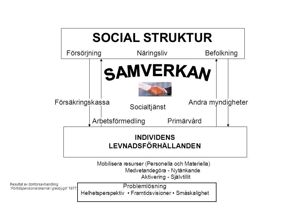 SOCIAL STRUKTUR FörsörjningNäringslivBefolkning Försäkringskassa Socialtjänst Andra myndigheter ArbetsförmedlingPrimärvård INDIVIDENS LEVNADSFÖRHÅLLAN