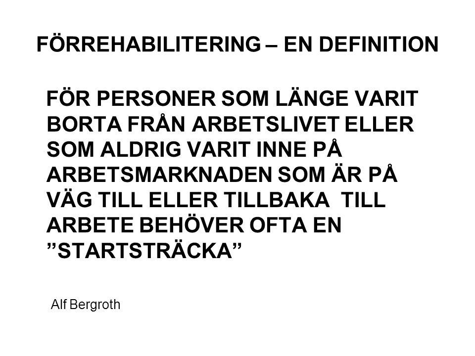 FÖRREHABILITERING – EN DEFINITION FÖR PERSONER SOM LÄNGE VARIT BORTA FRÅN ARBETSLIVET ELLER SOM ALDRIG VARIT INNE PÅ ARBETSMARKNADEN SOM ÄR PÅ VÄG TILL ELLER TILLBAKA TILL ARBETE BEHÖVER OFTA EN STARTSTRÄCKA Alf Bergroth