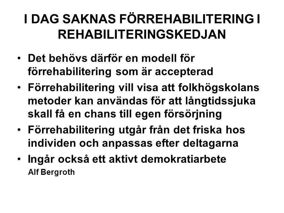 I DAG SAKNAS FÖRREHABILITERING I REHABILITERINGSKEDJAN Det behövs därför en modell för förrehabilitering som är accepterad Förrehabilitering vill visa att folkhögskolans metoder kan användas för att långtidssjuka skall få en chans till egen försörjning Förrehabilitering utgår från det friska hos individen och anpassas efter deltagarna Ingår också ett aktivt demokratiarbete Alf Bergroth