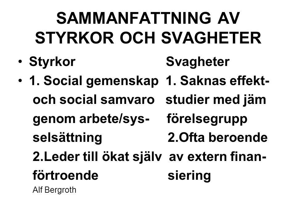 SAMMANFATTNING AV STYRKOR OCH SVAGHETER StyrkorSvagheter 1.