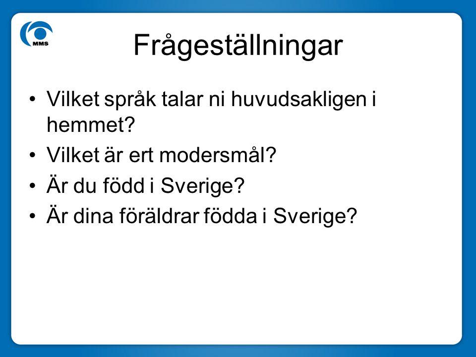 Frågeställningar Vilket språk talar ni huvudsakligen i hemmet? Vilket är ert modersmål? Är du född i Sverige? Är dina föräldrar födda i Sverige?