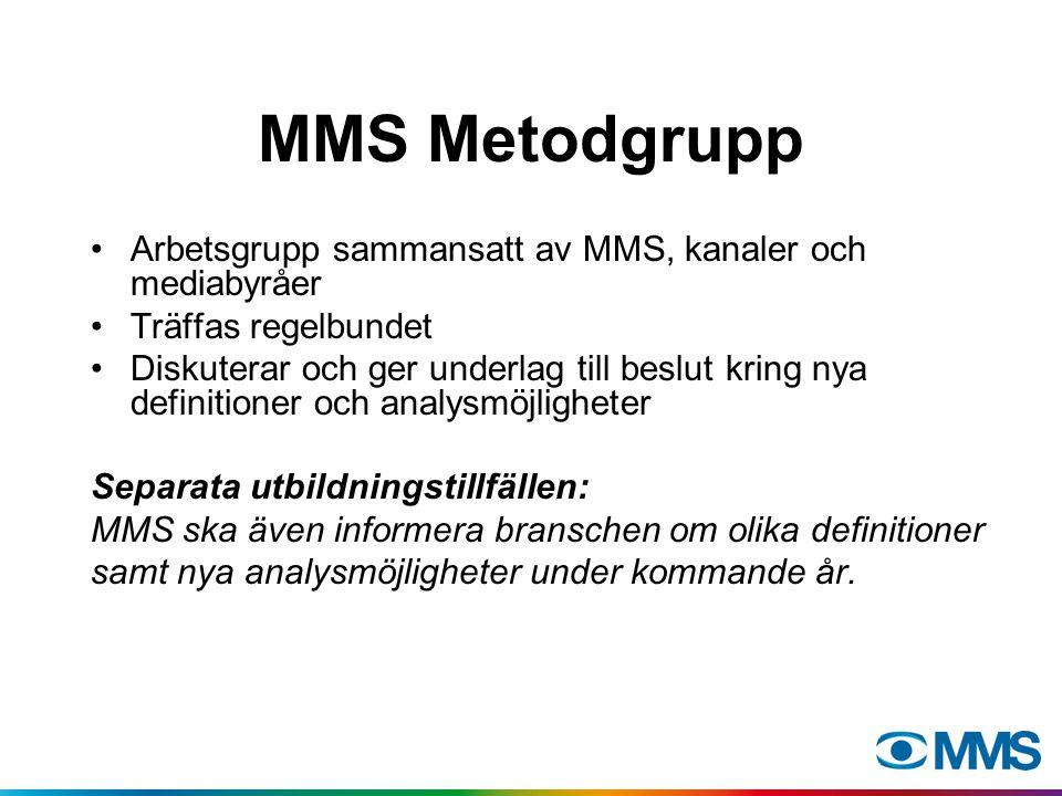 MMS Metodgrupp Arbetsgrupp sammansatt av MMS, kanaler och mediabyråer Träffas regelbundet Diskuterar och ger underlag till beslut kring nya definitioner och analysmöjligheter Separata utbildningstillfällen: MMS ska även informera branschen om olika definitioner samt nya analysmöjligheter under kommande år.