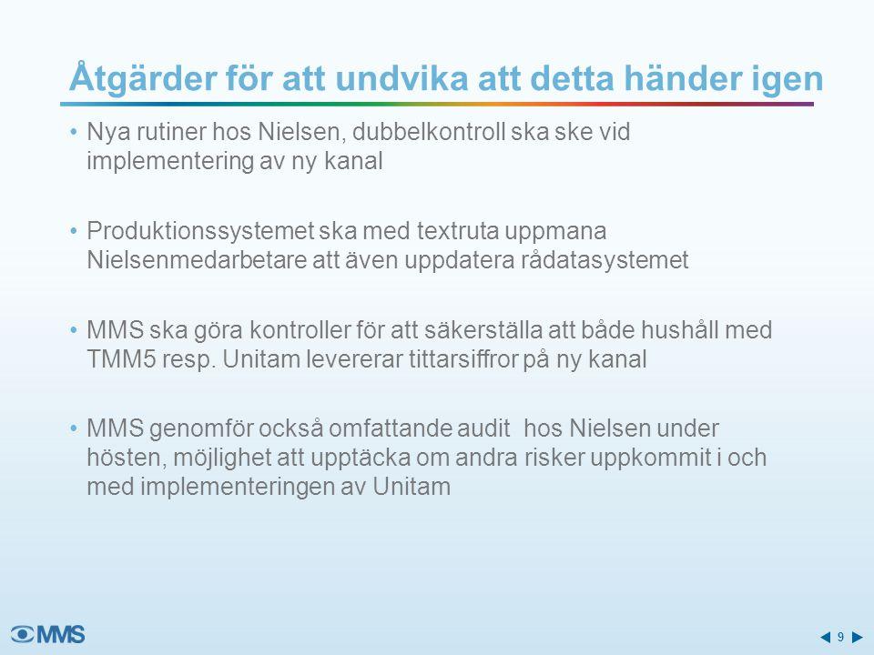 Nya rutiner hos Nielsen, dubbelkontroll ska ske vid implementering av ny kanal Produktionssystemet ska med textruta uppmana Nielsenmedarbetare att äve