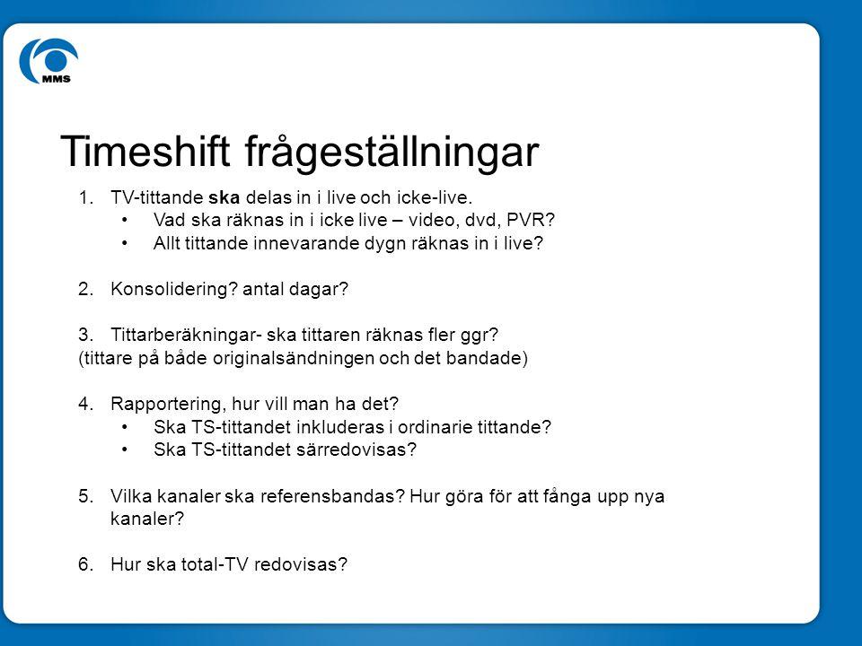 Ny rekryteringsmatris Föreslagen Rekryteringsmatris Timeshift frågeställningar 1.TV-tittande ska delas in i live och icke-live.