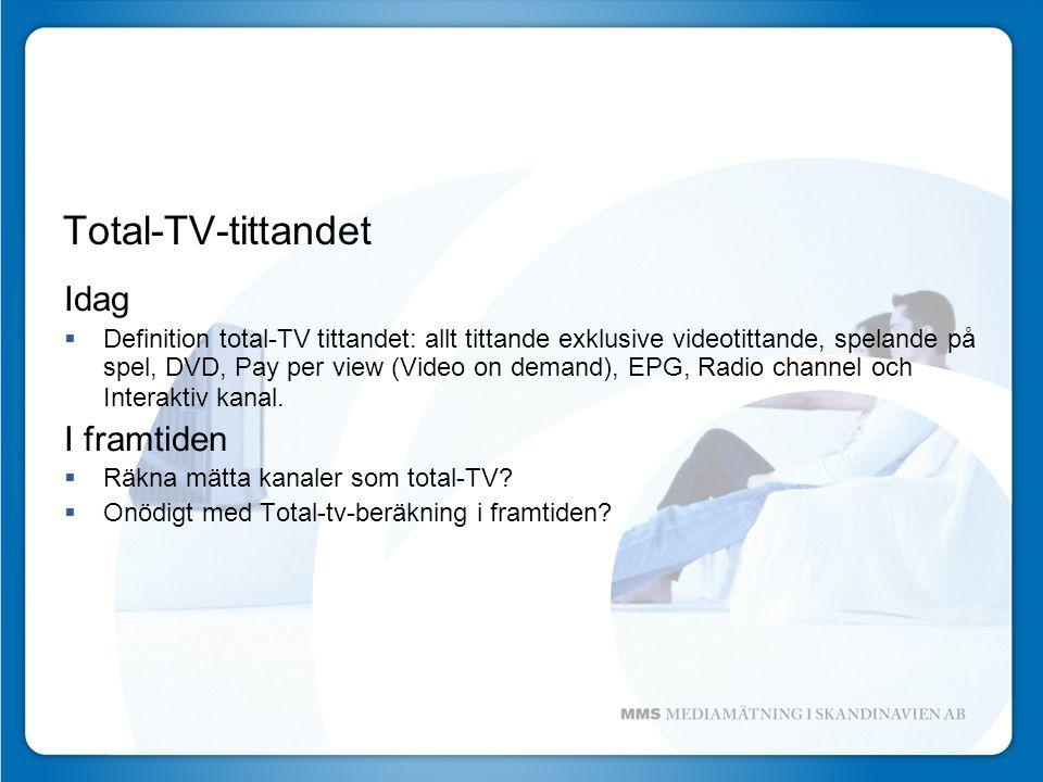Total-TV-tittandet Idag  Definition total-TV tittandet: allt tittande exklusive videotittande, spelande på spel, DVD, Pay per view (Video on demand), EPG, Radio channel och Interaktiv kanal.