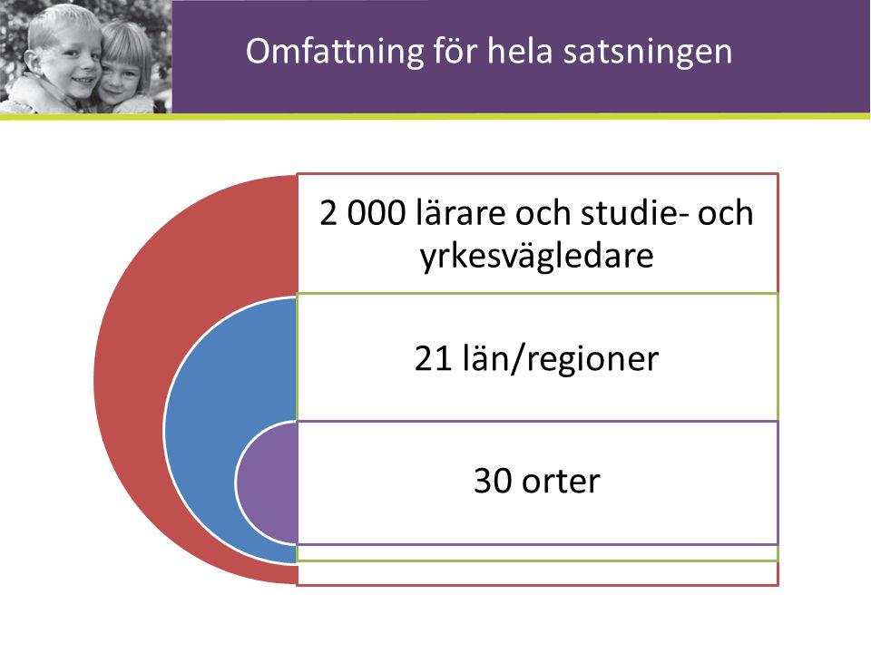 Omfattning för hela satsningen 2 000 lärare och studie- och yrkesvägledare 21 län/regioner 30 orter