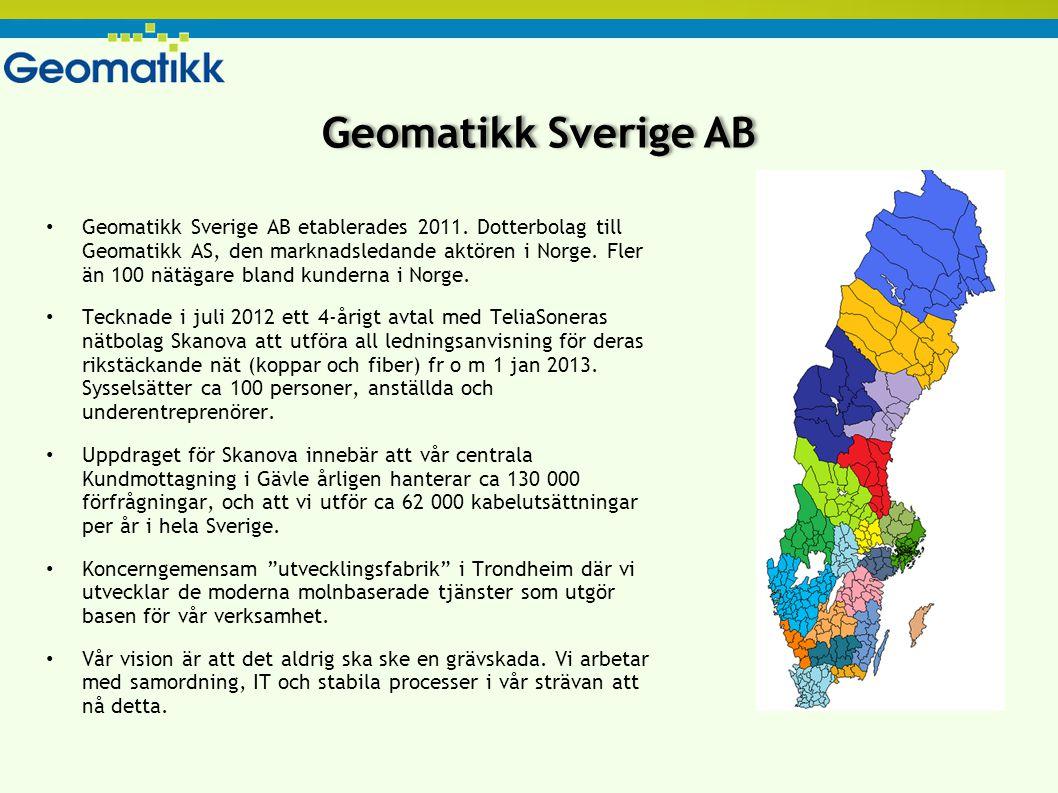 Vad vi gör - Norge Ledningsanvisning Samordning Ansökningar om grävtillstånd Koordinering av planer GIS-tjänster Nätdokumentation Inmätning Röt- och statuskontroll av stolpar TöNSBERG OSLO TRONDHEIM ÅLESUND BERGEN HAUGESUND STAVANGER ARENDAL SARPSBORG EGERSUND  HöYDALSMO +100 kunder 31 energibolag 29 kommuner 33 telekom/bredband Statens Vegvesen Omsättning 2011 – 205 MSEK Antal anställda 160 st