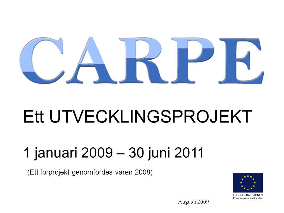 Ett UTVECKLINGSPROJEKT 1 januari 2009 – 30 juni 2011 (Ett förprojekt genomfördes våren 2008) Augusti 2009