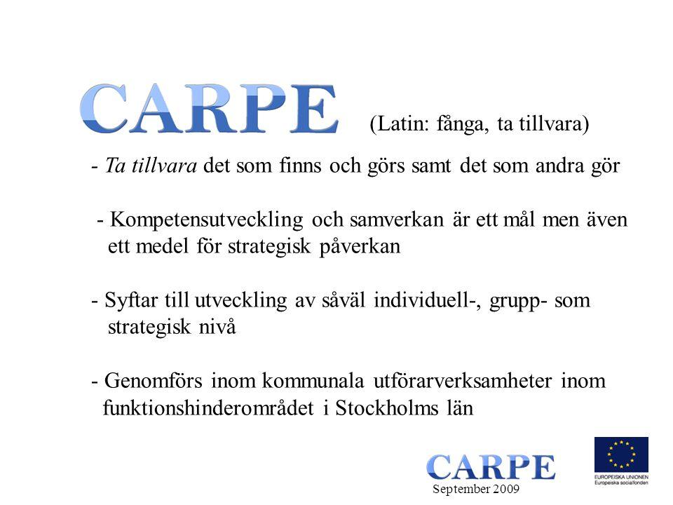 - Ta tillvara det som finns och görs samt det som andra gör - Kompetensutveckling och samverkan är ett mål men även ett medel för strategisk påverkan - Syftar till utveckling av såväl individuell-, grupp- som strategisk nivå - Genomförs inom kommunala utförarverksamheter inom funktionshinderområdet i Stockholms län (Latin: fånga, ta tillvara) September 2009