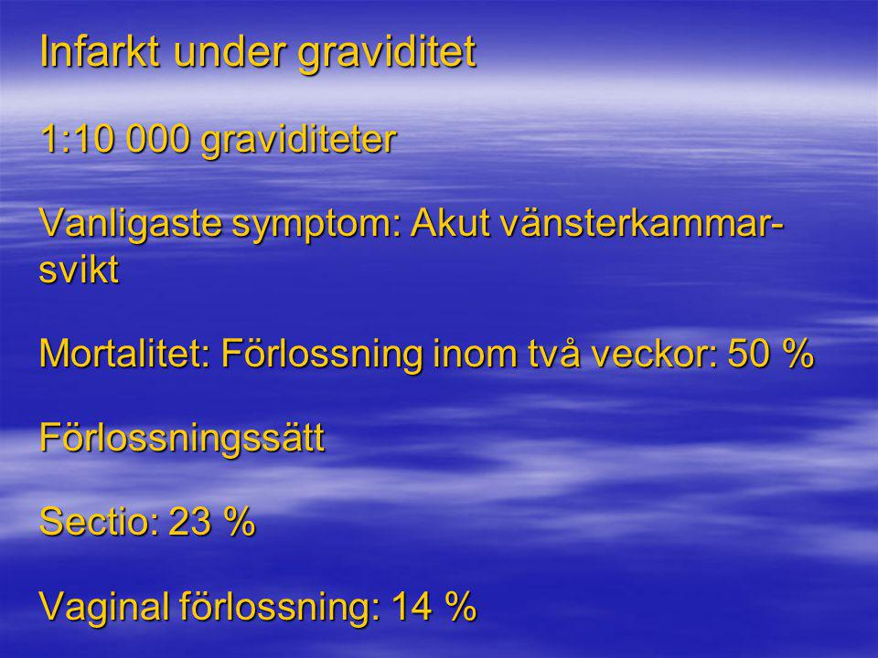 Infarkt under graviditet 1:10 000 graviditeter Vanligaste symptom: Akut vänsterkammar- svikt Mortalitet: Förlossning inom två veckor: 50 % Förlossning