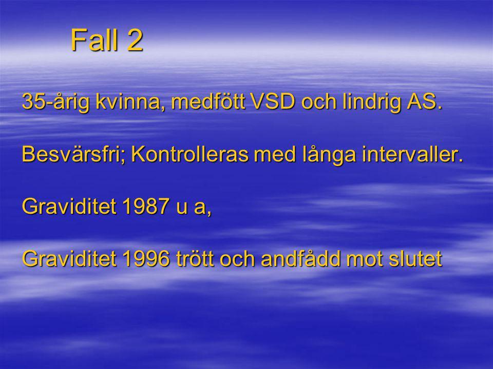 Fall 2 35-årig kvinna, medfött VSD och lindrig AS. Besvärsfri; Kontrolleras med långa intervaller. Graviditet 1987 u a, Graviditet 1996 trött och andf