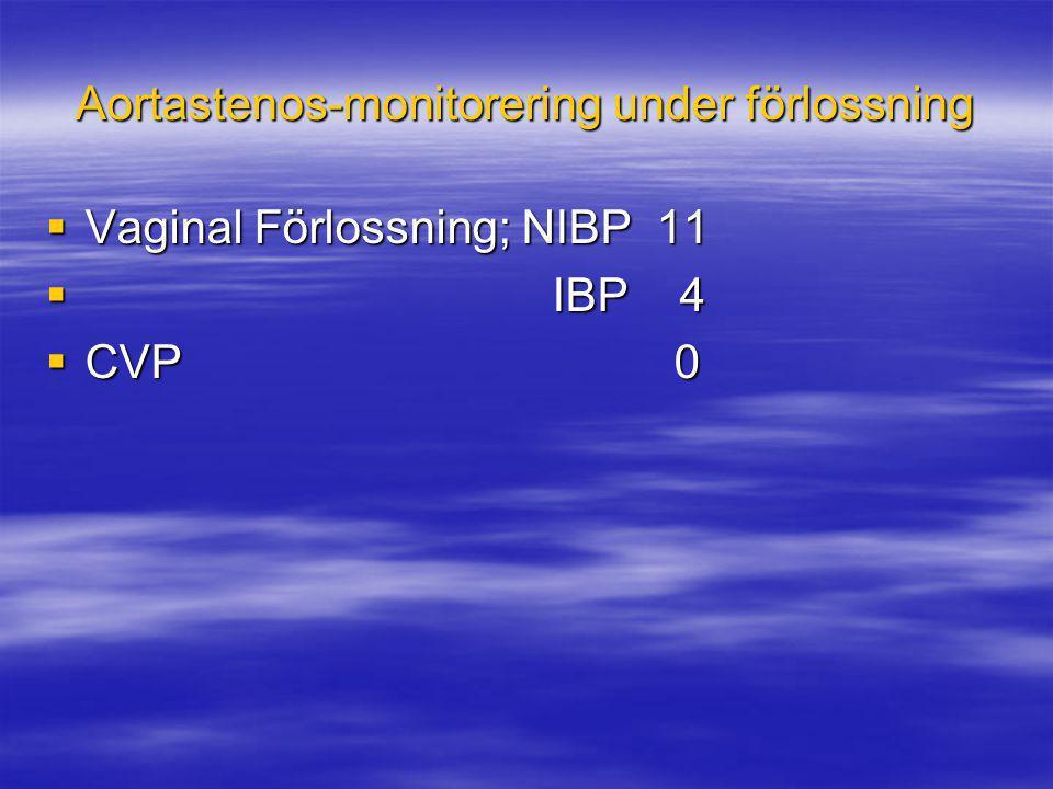 Aortastenos-monitorering under förlossning  Vaginal Förlossning; NIBP 11  IBP 4  CVP 0