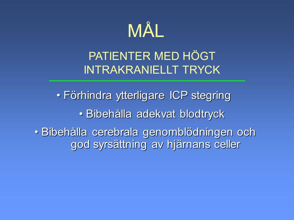 MÅL PATIENTER MED HÖGT INTRAKRANIELLT TRYCK Bibehålla cerebrala genomblödningen och Bibehålla cerebrala genomblödningen och god syrsättning av hjärnan