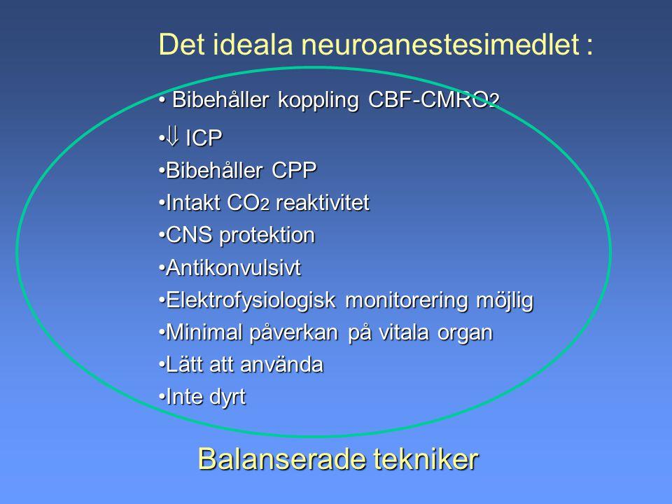 Balanserade tekniker Det ideala neuroanestesimedlet : Bibehåller koppling CBF-CMRO 2 Bibehåller koppling CBF-CMRO 2  ICP  ICP Bibehåller CPPBibehåll